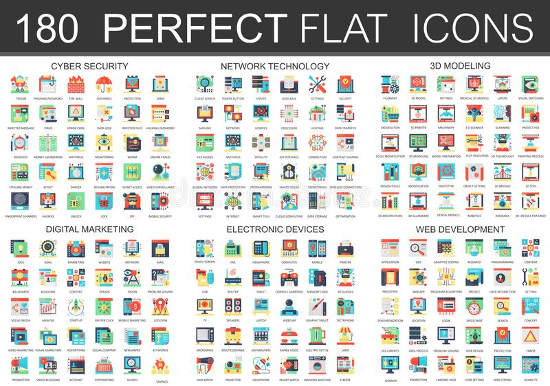 180 wektorowych powikłanych płaskich ikony pojęcia symboli/lów cyber ochrona, sieci technologia, sieć rozwój, cyfrowy marketing ilustracji