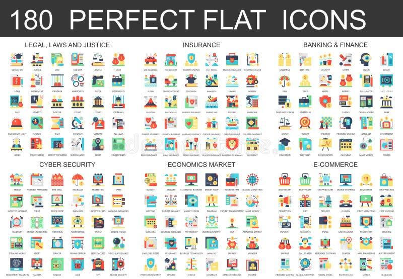 180 wektorowych powikłanych płaskich ikony pojęcia symboli/lów legalny, prawa i sprawiedliwość, ubezpieczenie, deponuje pieniądze ilustracja wektor