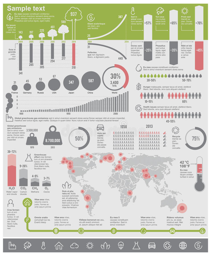 Wektorowych problem związany z ochroną środowiska infographic elementy
