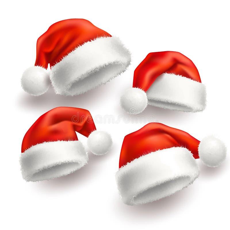 Wektorowych realistycznych Santa bożych narodzeń kapeluszu wakacyjny set royalty ilustracja