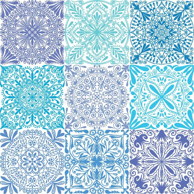 Wektorowych retro błękitnych symetrycznych płytek bezszwowy deseniowy tło ilustracja wektor