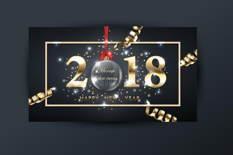 2018 wektorowych szczęśliwych nowy rok tło z złocistą serpentyną royalty ilustracja