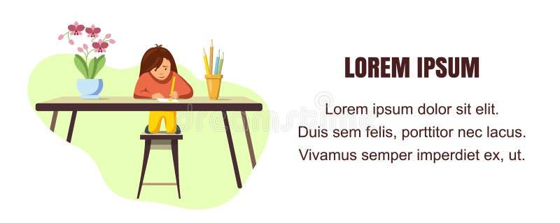 Wektorowych sztandar małej dziewczynki remisów Barwiony ołówek ilustracji