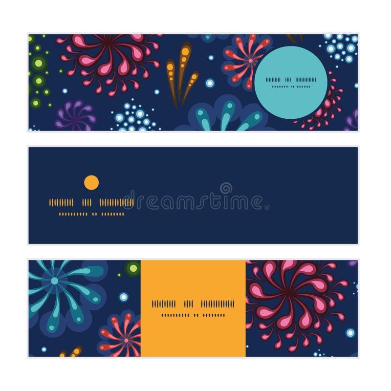 Wektorowych wakacyjnych fajerwerków horyzontalni sztandary ustawiający ilustracja wektor
