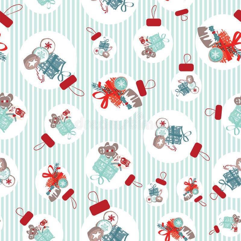 Wektorski wzorzec bez szwu ze słodyczami, ciastkami i prezentami w ozdobach choinki. Tradycyjna domena retro ilustracji