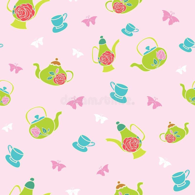 Wektoru światło - różowy ogrodowy herbacianego przyjęcia bezszwowy deseniowy tło royalty ilustracja
