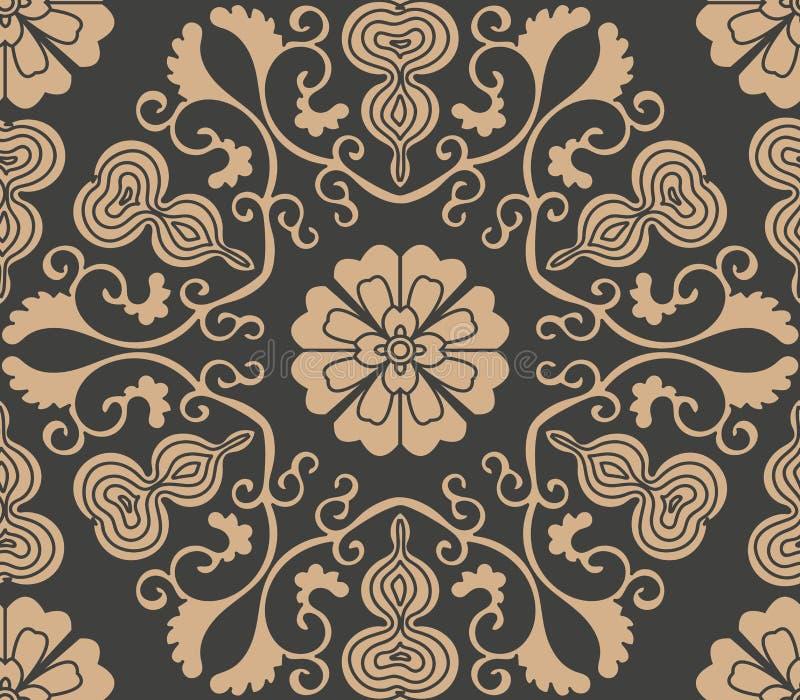 Wektoru adamaszkowego bezszwowego retro deseniowego tła spirali krzywy wieloboka krzyża liścia winogradu kwiatu orientalna gurda  ilustracja wektor