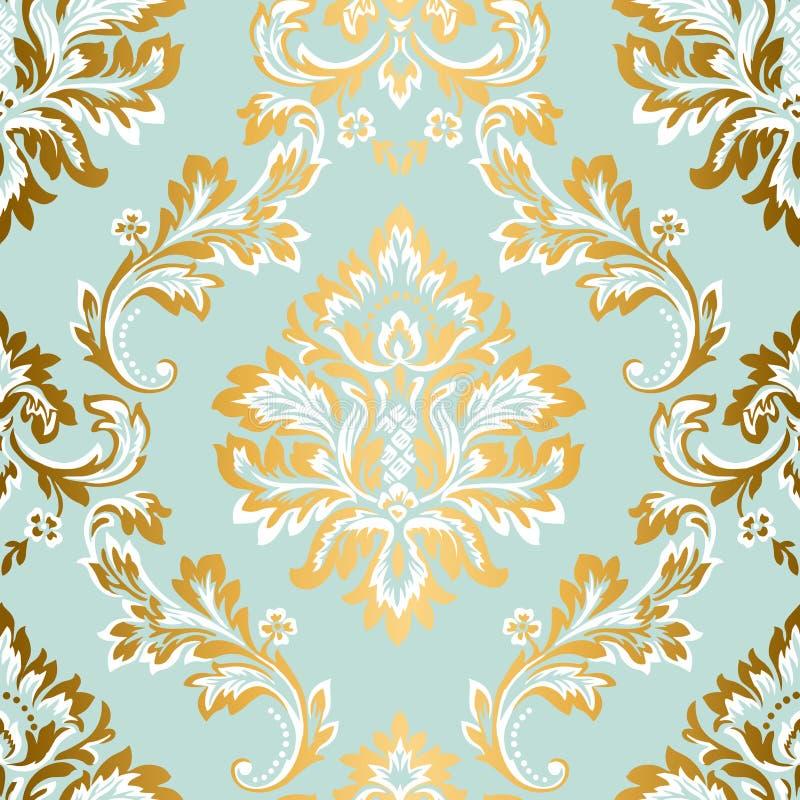 Wektoru adamaszkowy bezszwowy deseniowy element Klasyczny luksusowy Barokowy ornament, Królewska Wiktoriańska bezszwowa tekstura  ilustracji