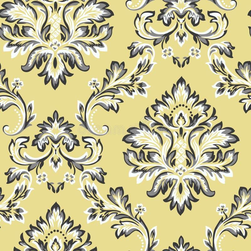 Wektoru adamaszkowy bezszwowy deseniowy element Klasyczny luksusowy Barokowy ornament, Królewska Wiktoriańska bezszwowa tekstura  royalty ilustracja