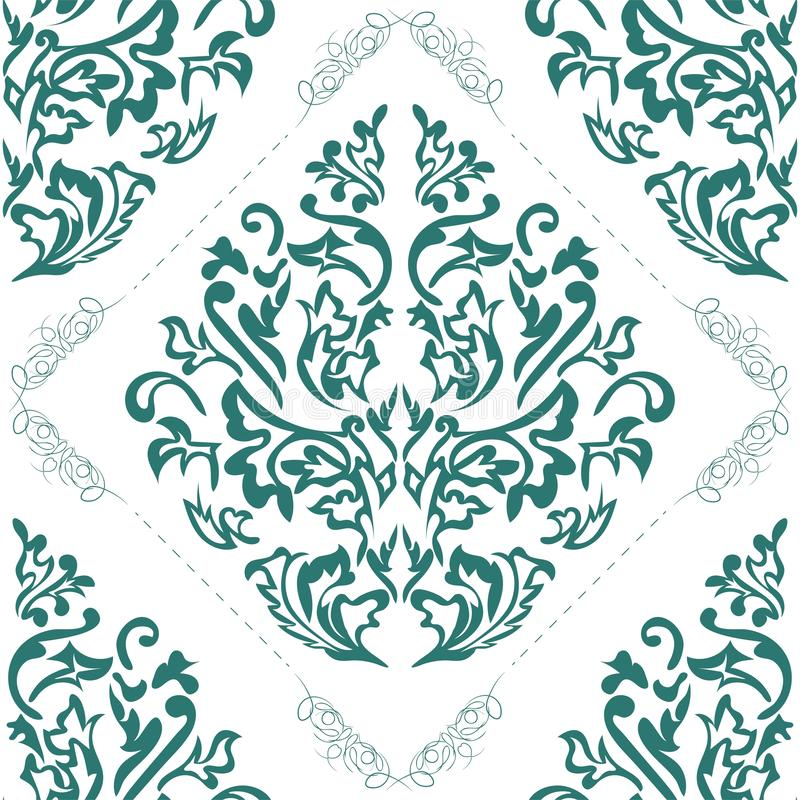 Wektoru adamaszkowy bezszwowy deseniowy element Klasyczny adamaszkowy ornament, królewskiego wiktoriański bezszwowa tekstura dla  ilustracja wektor