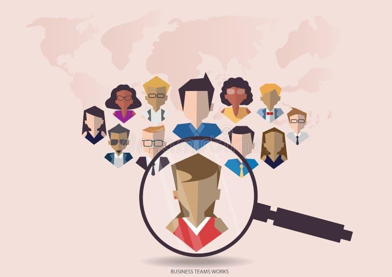 Wektoru badania ludzie dla biznesu zespalają się pracownika z wektorową światową mapą Płaski projekt ilustracji