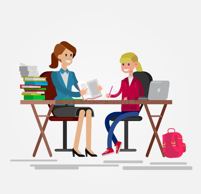 Wektoru charakteru kobiety szczegółowy nauczyciel ilustracji