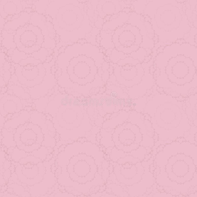 Wektoru cukierku cukierki lekkich delikatnych menchii bezszwowy wzór z różyczek pieluch round linie i kędzioru dzienniczka tło ilustracja wektor