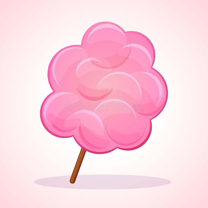 Wektoru cukierku floss różowa ikona royalty ilustracja