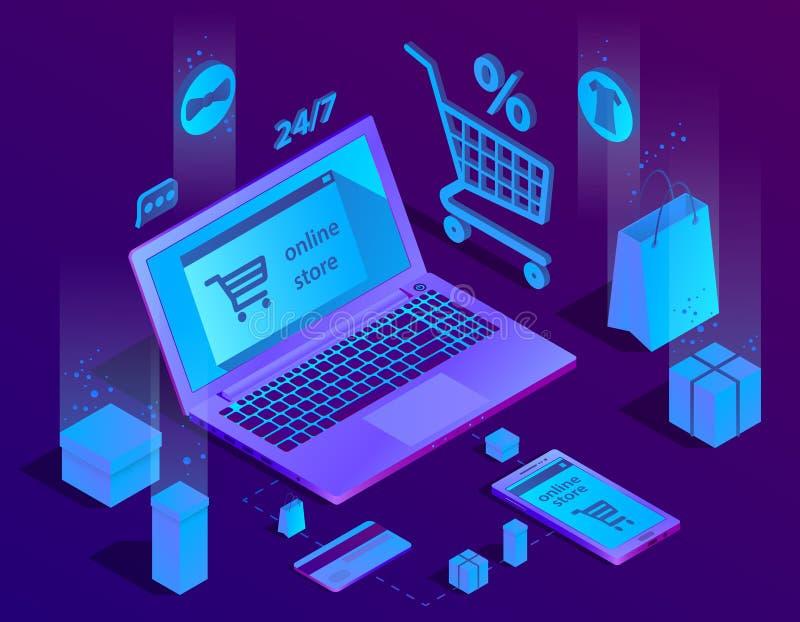 Wektoru 3d handlu elektronicznego isometric pojęcie, online sklep ilustracji