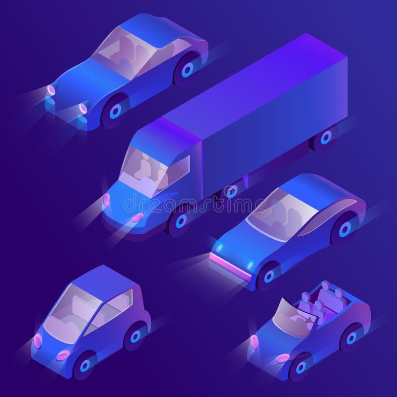 Wektoru 3d isometric fiołkowi samochody z reflektorami ilustracja wektor