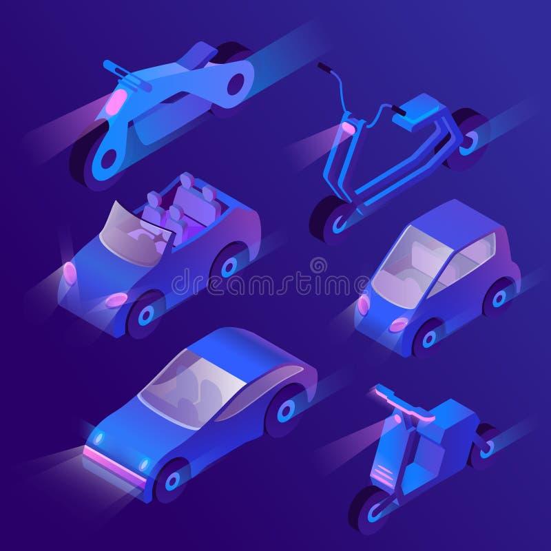 Wektoru 3d isometric miastowy transport z reflektorami ilustracji