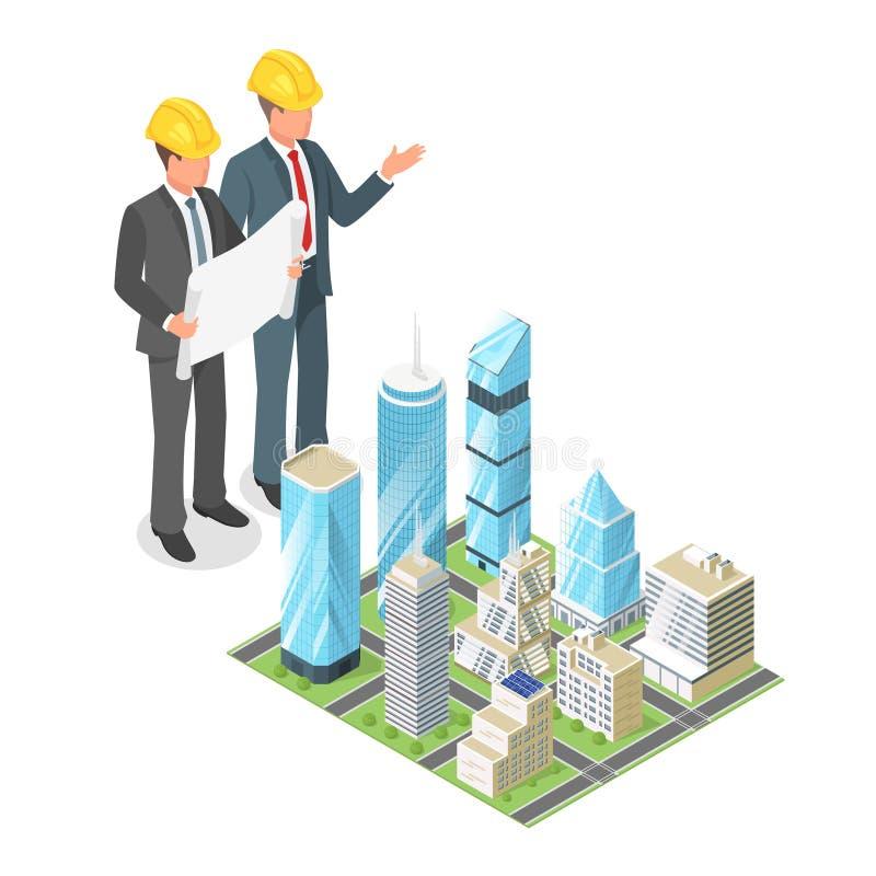 Wektoru 3d isometric pojęcie biznesmen lub inżynier w ciężkim h ilustracji