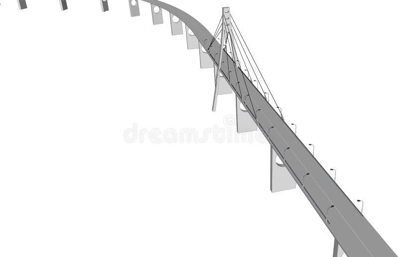 Wektoru 3D mosta miasta budynków widok royalty ilustracja