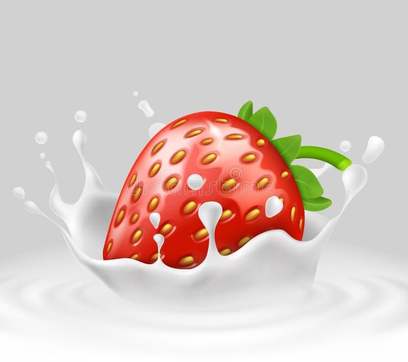 Wektoru 3d realistyczna truskawka w chełbotania mleku ilustracji