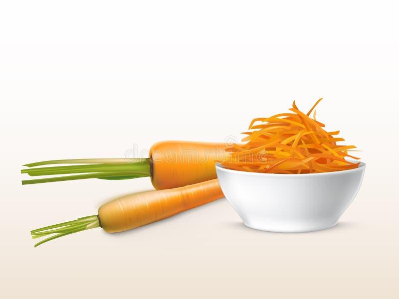 Wektoru 3d realistyczne marchewki, pokrojony pomarańczowy warzywo royalty ilustracja