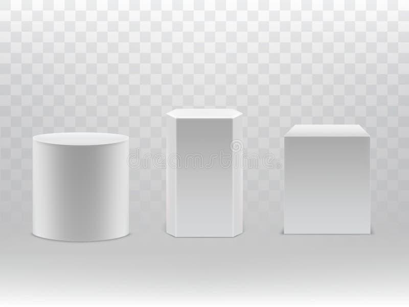 Wektoru 3d realistyczni geometrical kształty butla, sześcian ilustracji