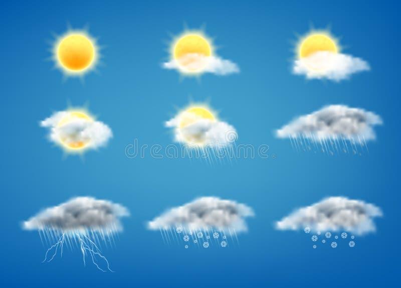 Wektoru 3d realistyczny set prognoza pogody ikony ilustracji