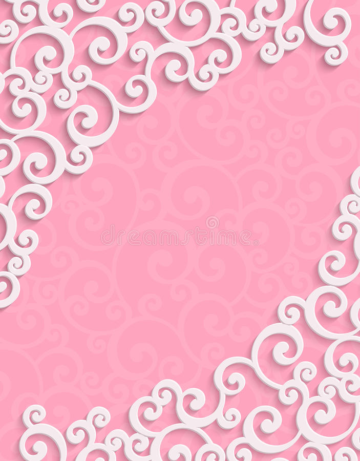 Wektoru 3d rocznika zaproszenia Różowa karta z Kwiecistym ilustracji