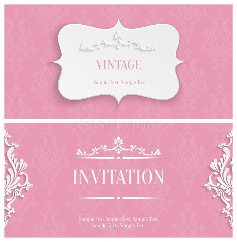 Wektoru 3d rocznika zaproszenia Różowa karta z Kwiecistym adamaszka wzorem royalty ilustracja