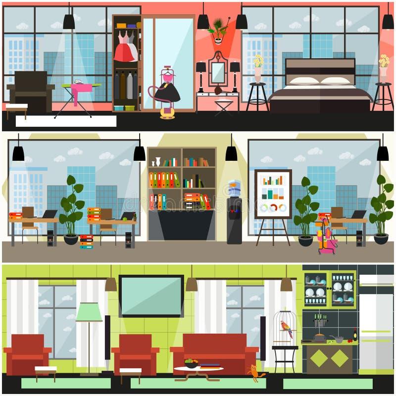 Wektoru domowego i biurowego cleaning wewnętrzny plakat, sztandaru set ilustracji