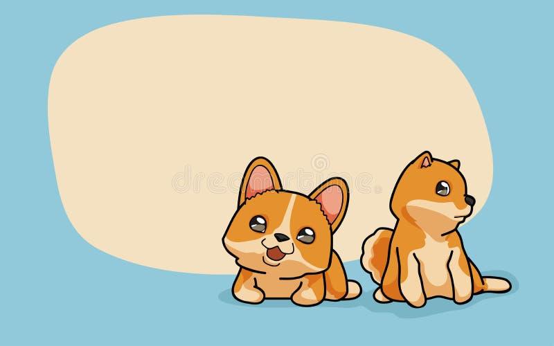 Wektoru Dwa śliczni psy royalty ilustracja