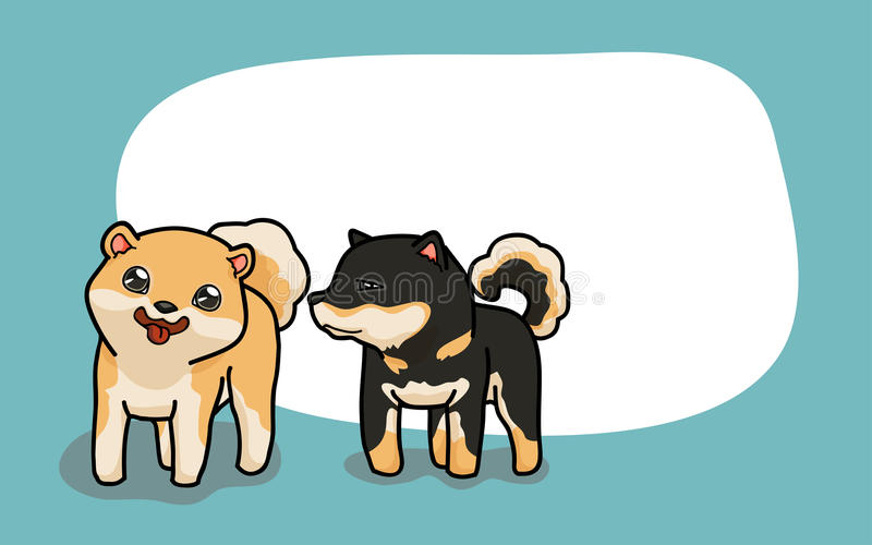 Wektoru Dwa Shiba Inu śliczni psy royalty ilustracja
