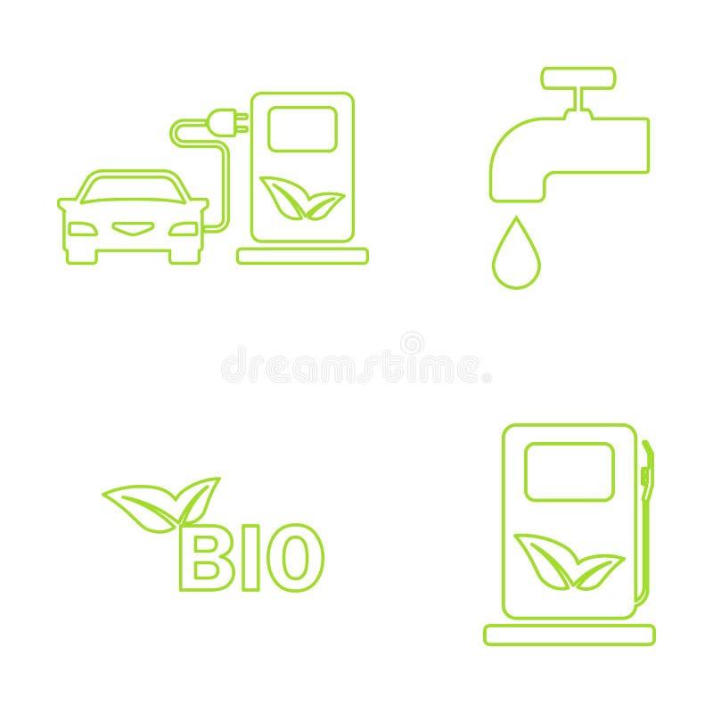 Wektoru eco zielone ikony ustawiać ilustracja wektor