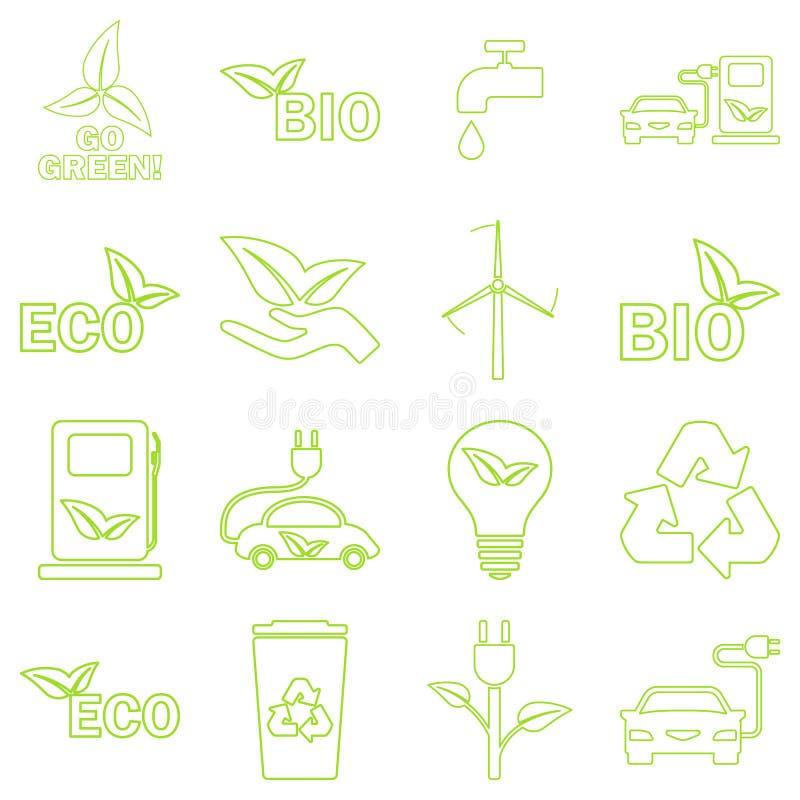 Wektoru eco zielone ikony ustawiać royalty ilustracja
