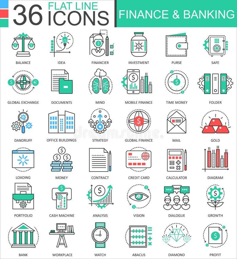 Wektoru finanse i deponować pieniądze nowożytne koloru mieszkania linii konturu ikony dla apps i sieć projekta ilustracja wektor