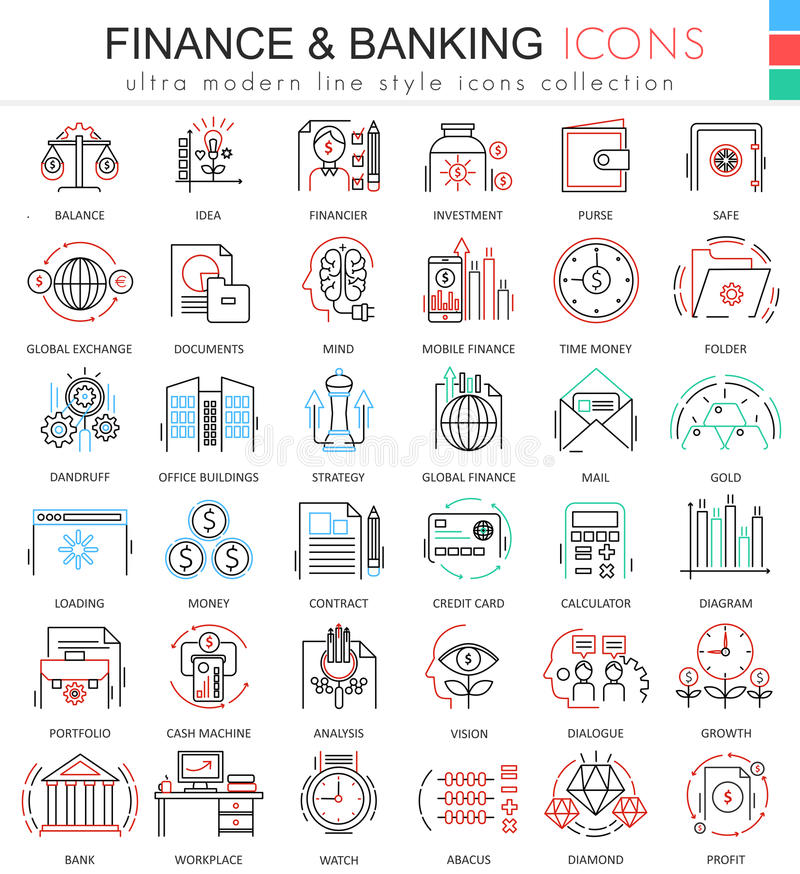 Wektoru finanse i deponować pieniądze ultra nowożytne koloru konturu linii ikony dla apps i sieć projekta Finansowe pieniądze iko royalty ilustracja