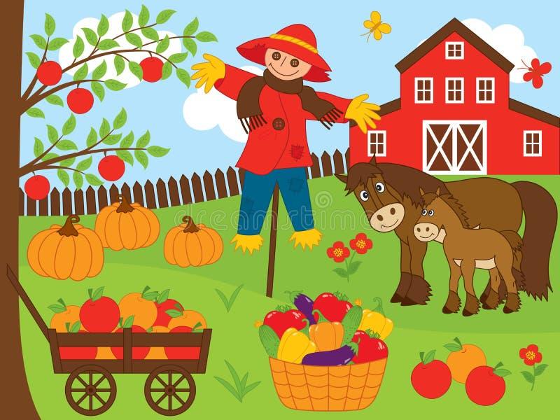 Wektoru gospodarstwa rolnego set Żniwo Ustalona Wektorowa ilustracja royalty ilustracja