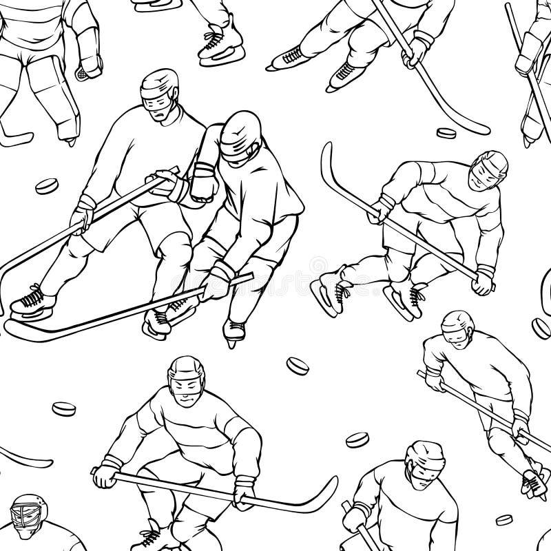 Wektoru gracz w hokeja deseniowy bramkarz w sporta mundurze Czarnego białego konturu bezszwowy tło Roczników sportsmans ilustracji