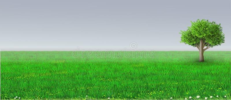 Wektoru horyzontu tła zielony drzewo ilustracji