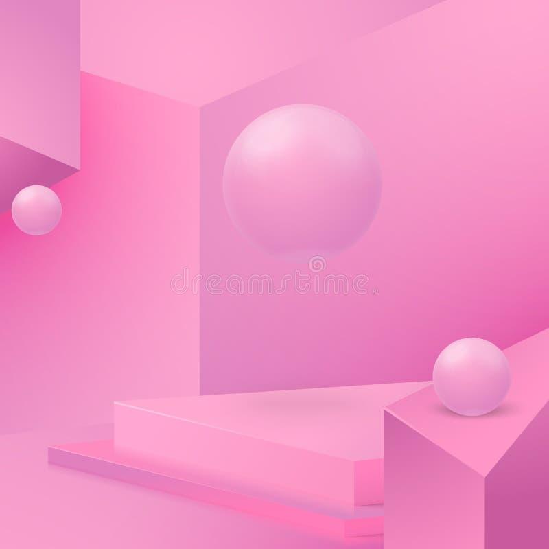 Wektoru kąta ściany abstrakcjonistyczna scena z podium ilustracja wektor