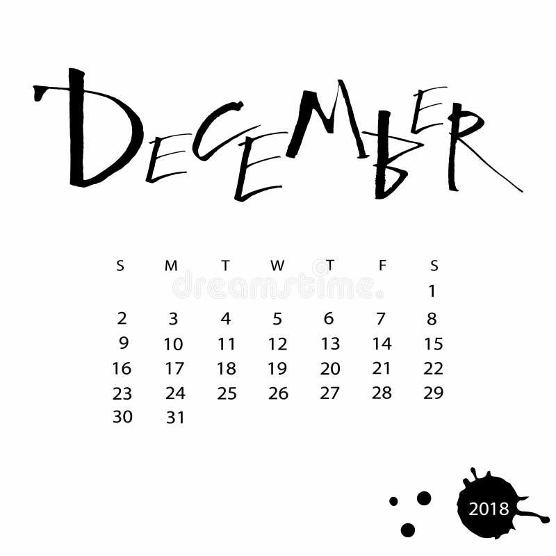 Wektoru kalendarz dla Grudnia 2018 fotografia stock