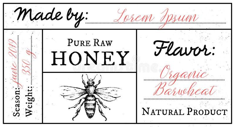 Wektoru karciany szablon z miodowym pszczoła emblematem i przestrzeń dla teksta royalty ilustracja