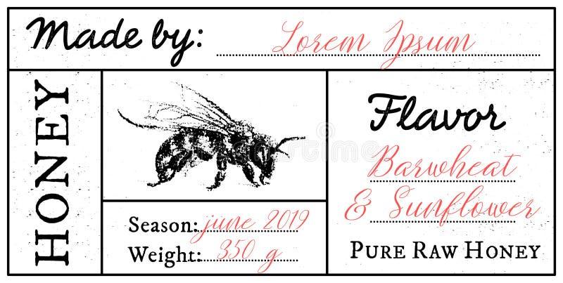 Wektoru karciany szablon z miodowym pszczoła emblematem i przestrzeń dla teksta ilustracja wektor