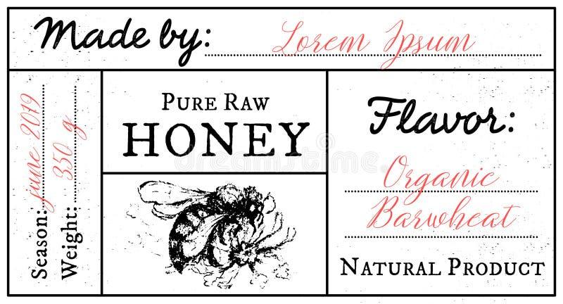 Wektoru karciany szablon z miodowym pszczoła emblematem i przestrzeń dla teksta ilustracji