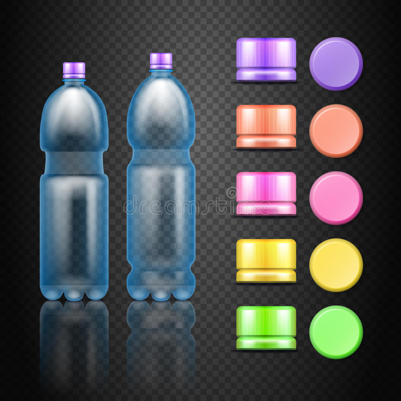 Wektoru klingerytu wody napoju puste butelki z setem stubarwne nakrętki ilustracji