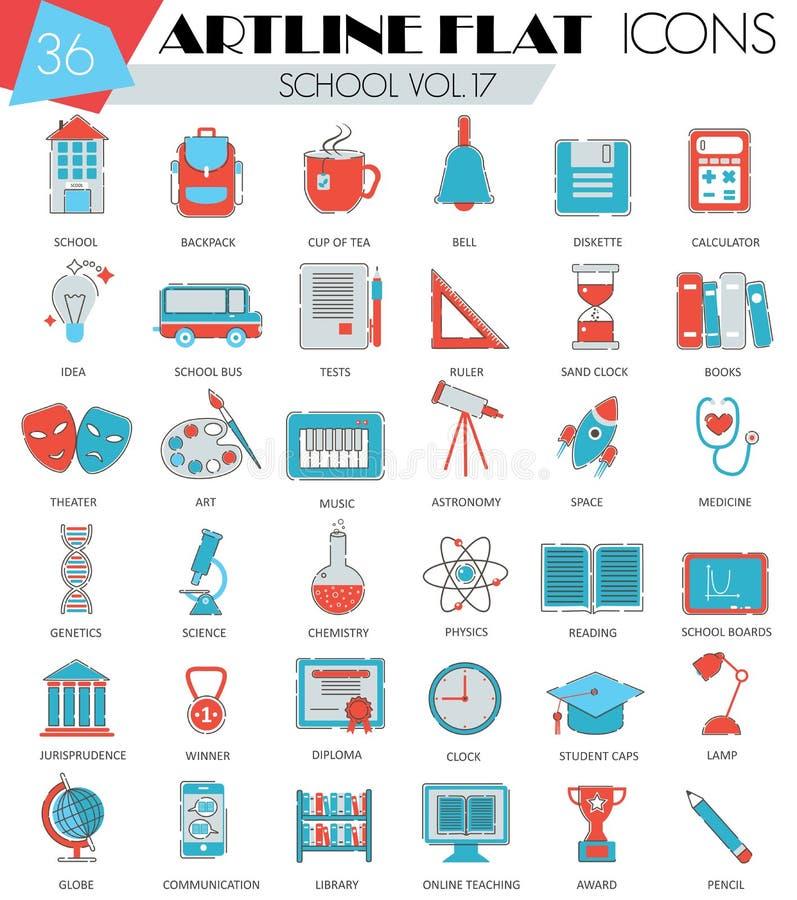 Wektoru kolegium konturu artline mieszkania linii Szkolne ultra nowożytne ikony dla sieci i apps royalty ilustracja