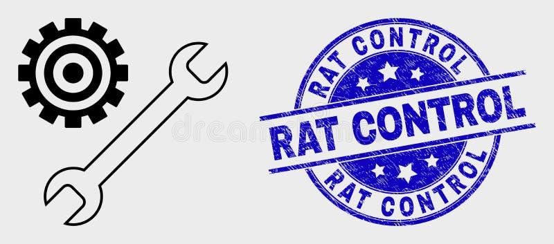 Wektoru konturu naprawa Wytłacza wzory ikonę i Porysowanego szczura Kontrolnego znaczek ilustracja wektor