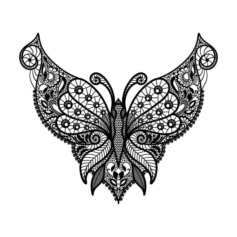 Wektoru koronkowy neckline Szyja druk z motylim kształtem i kwiecistym ornamentem royalty ilustracja