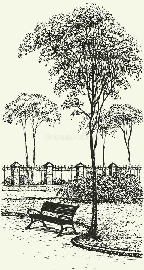 Wektoru krajobraz. Ławka pod wysokim drzewem w parku royalty ilustracja