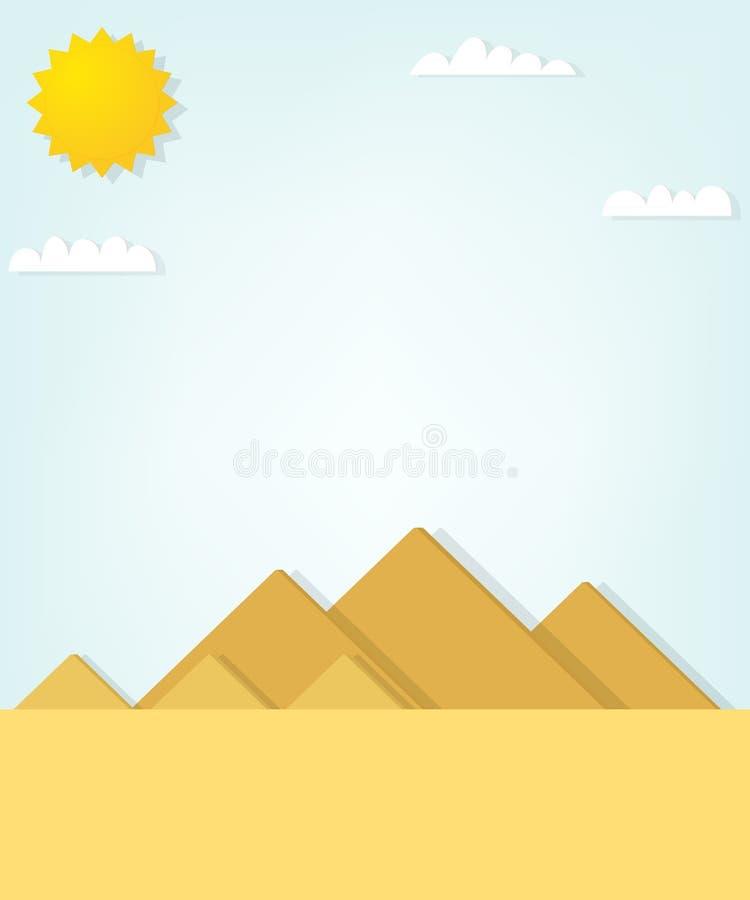 Wektoru krajobraz z Egipskimi ostrosłupami ilustracja wektor